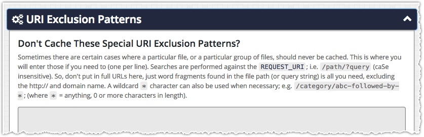 ZenCache URI Exclusion Patterns