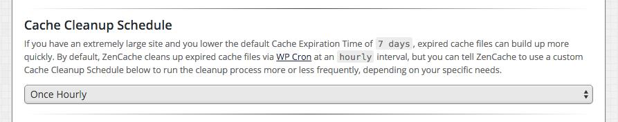 ZenCache Pro - Cache Cleanup Schedule