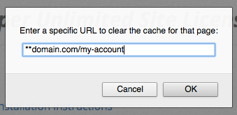 Clear Cache Options: Entering a Specific URL Pattern
