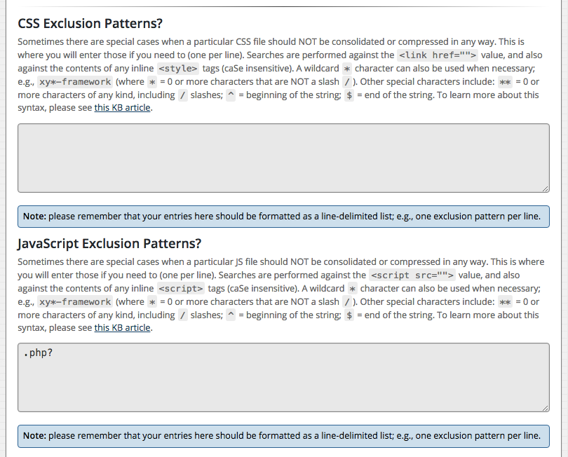 HTML Compressor - CSS / JS Exclusion Patterns