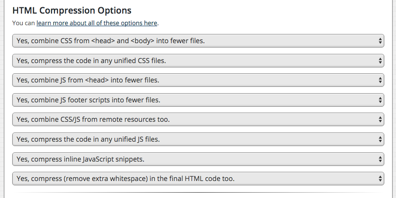 HTML Compression - Options