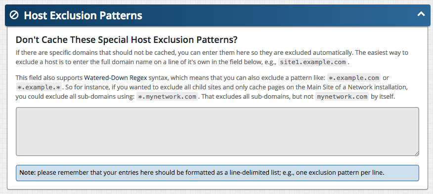 Screenshot: Multisite Host Exclusion Patterns panel