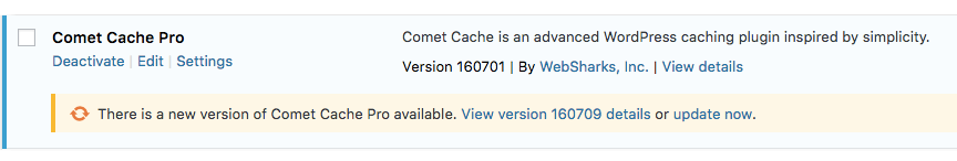 Comet Cache Pro - Updates via the WordPress Update System