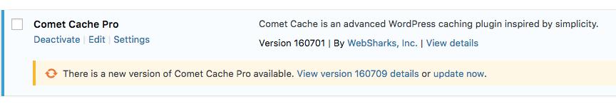 Comet Cache Pro - Updates via the WordPress Update System