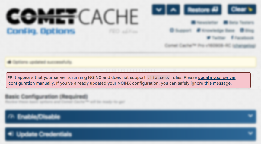 How do I disable the Nginx htaccess notice? | Comet Cache™