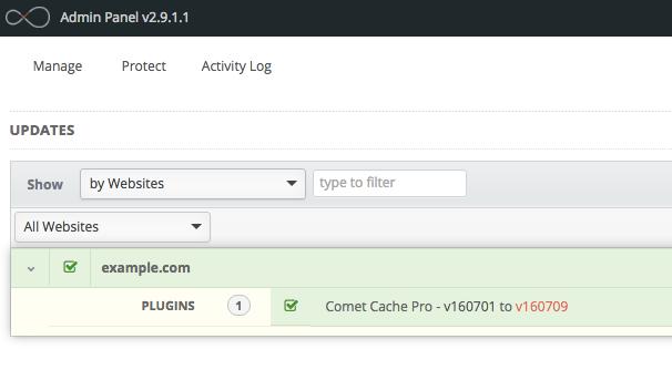 Comet Cache Pro: InfiniteWP Compatibility