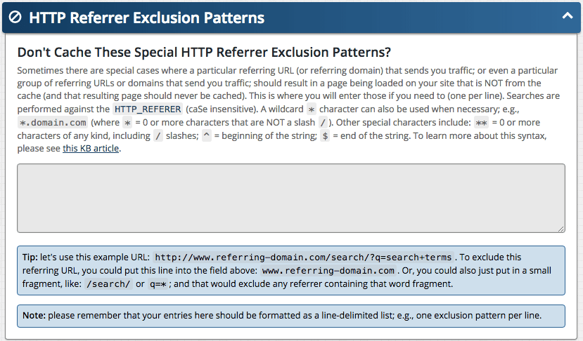 Feature: HTTP Referrer Exclusion Patterns