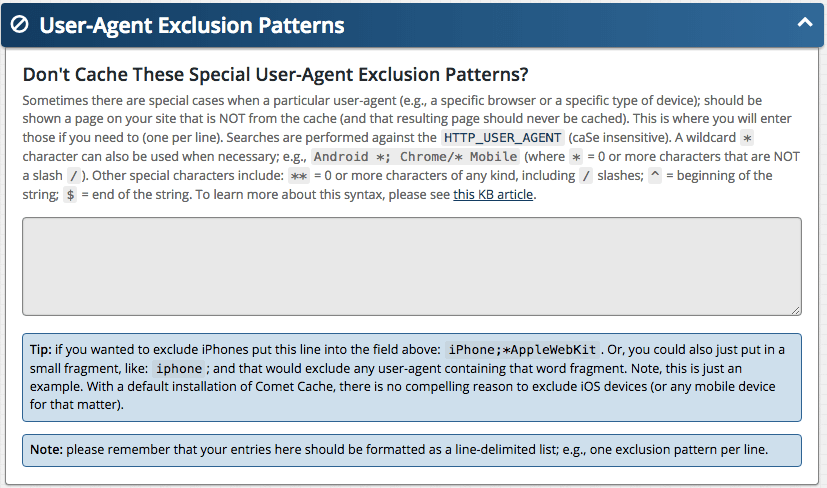 Feature: User-Agent Exclusion Patterns
