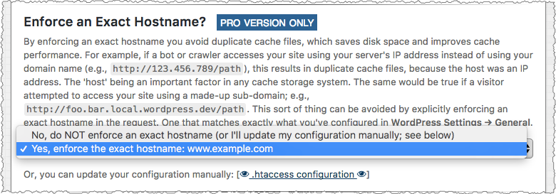 Comet Cache Pro: Apache Optimizations Enforce Exact Hostname