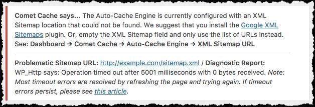 Comet Cache XML Sitemap Timeout Error